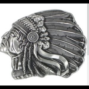 Other - INDIAN BELT BUCKLE WESTERN SILVER